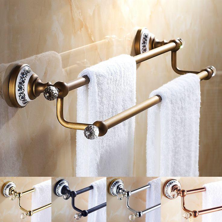 crystal bathroom accessories sets%0A European Antique Porcelain Crystal Bathroom Towel Bar Black Double Rod Bathroom  Accessories Sets Solid Brass Set