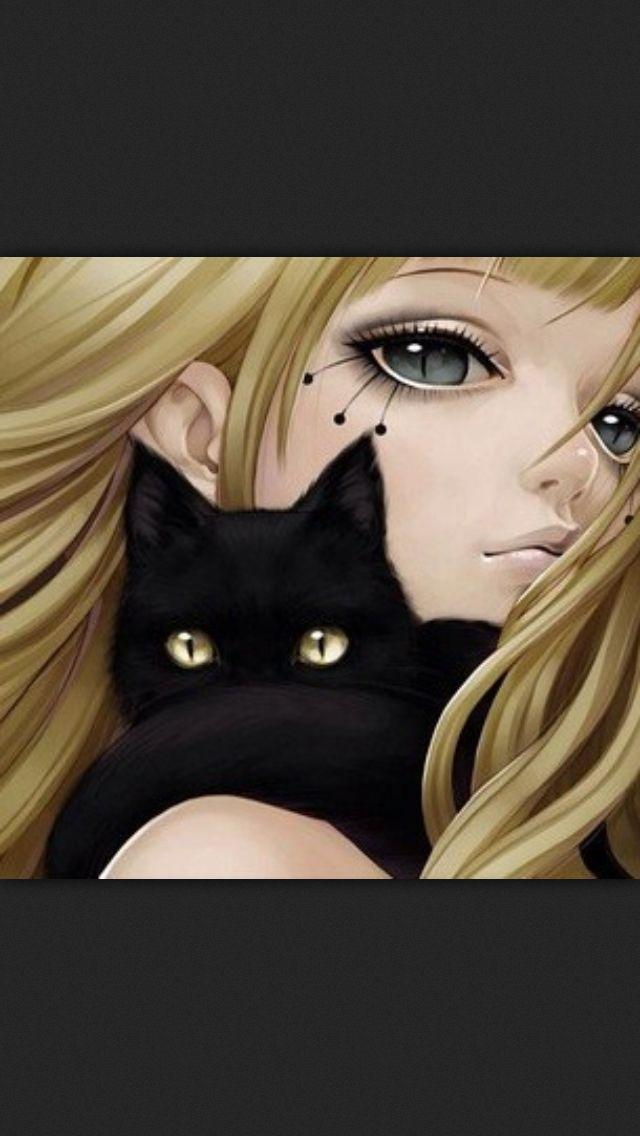 Girl, black cat, anime, manga, art, illustration.