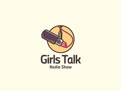 Girls Talk Radio Show - Logo Design - Logomark, Illustration, Lipstick, Microphone, Girls, Talk, Radio, Brown, Yellow, Red, Retro