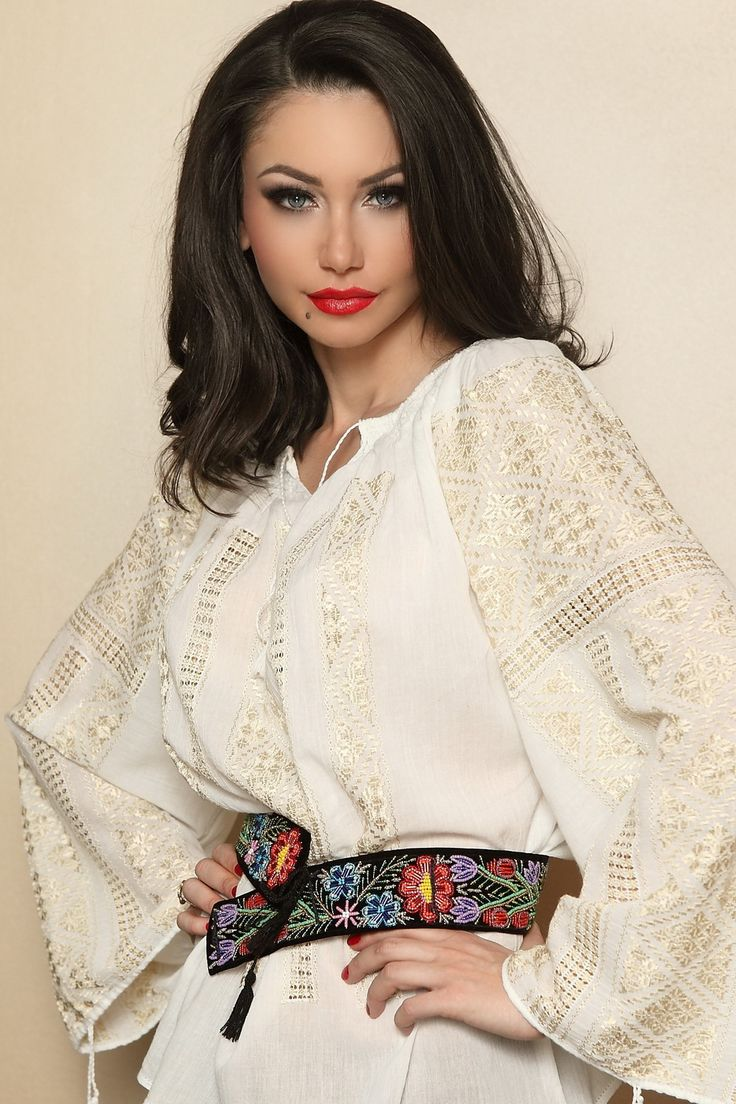 "Ie Traditionala Romaneasca Maneca Lunga Motivul Altita Aurie. Traditional Romanian blouse called ""ie"", hand sewn and embroidered"