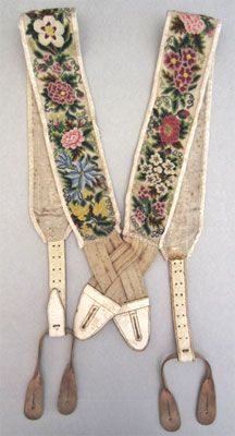 Embroidered Petitpoint Braces  ca. 1820-30 and ca. 1840s        Men's braces of the nineteenth century were often highly decorative accessories and would have complimented the richly patterned, colorful waistcoats with which they would have been worn.