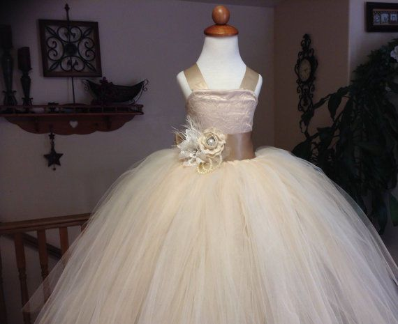 2015 Vintage champagne wedding flower girl tutu dress with corset and sash++ #Dress