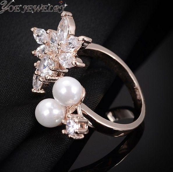 Iyoe последние дизайн букет циркон мода обручальные кольца 100% высокое качество женщины ночные клубы открытие жемчужное кольцо валентина подарок.