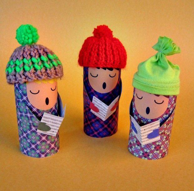 Plantillas para hacer tres muñecos con tubos de cartón