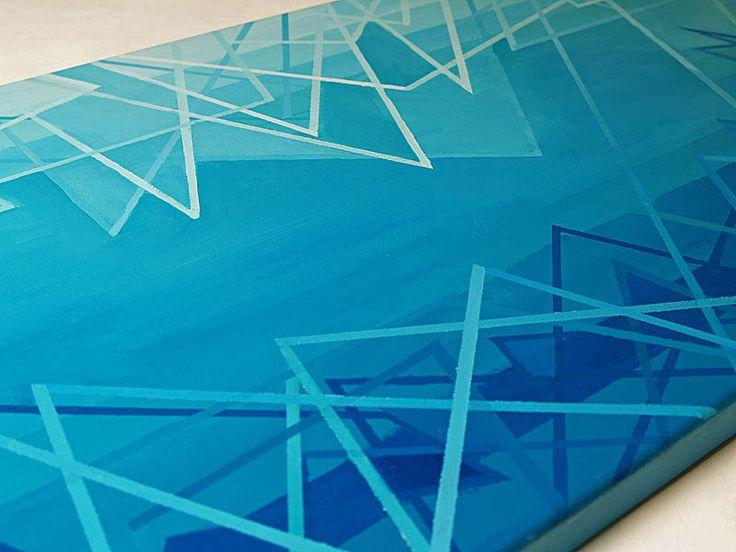 Magdalena Purol modern art TRIGO NUM 6 obraz akrylowy #linie #chaos #abstrakcje #blue