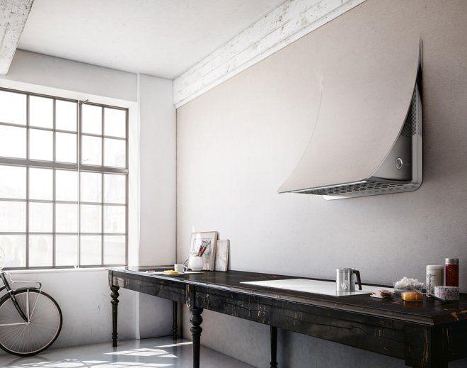 Hotte Elica contrôlée par des capteurs et une connexion wi-fi de la table de cuisson qui définissent sa puissance d'aspiration
