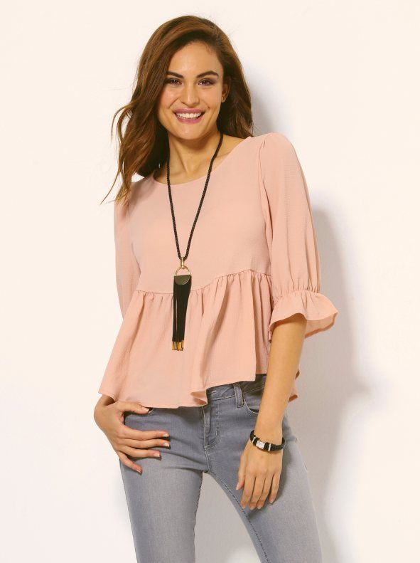 Blusa mujer con volantes y collar#rosa palo