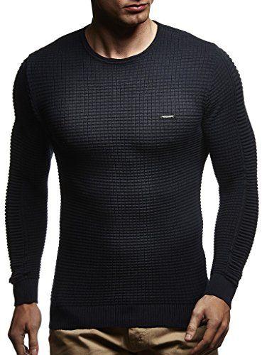 1f5e6749e897 LEIF NELSON Herren Pullover Strickpullover Hoodie Basic Rundhals Crew Neck  Sweatshirt longsleeve langarm Sweater Feinstrick LN1545