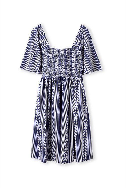 Country Road Vine Print Shirred Dress