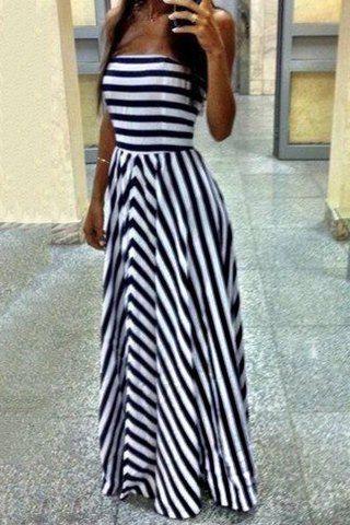 Sexy Strapless Full Stripe Pattern Backless Dress For Women