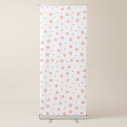 Elegant polka dots - Soft Pink Gold White Retractable Banner - modern gifts cyo gift ideas personalize