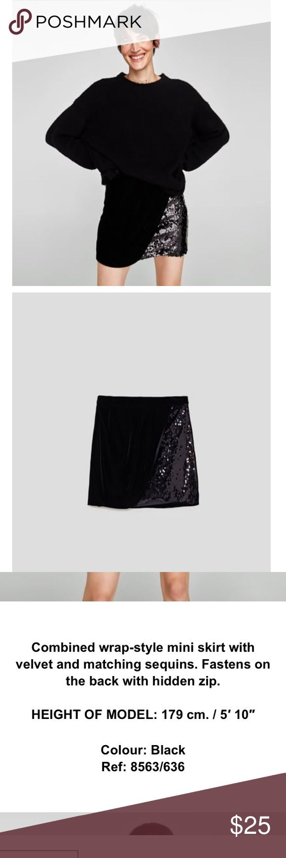 Zara shimmer mini skirt Brand new!!! Zara combined wrap style mini skirt with velvet and matching sequins. Refer to picture for detail. Zara Skirts Mini