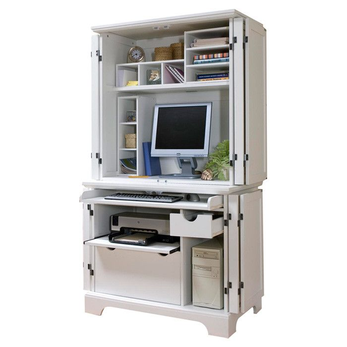 home styles naples white compact computer desk hutch