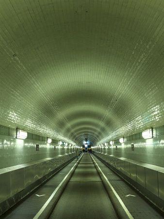 Hamburg St. Pauli Elbtunnel (Historic pedestrian, horse cart & car tunnel under Elbe River since 1911)