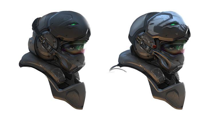 Marine Helmet , Samuel Aaron Whitehead on ArtStation at https://www.artstation.com/artwork/y3WX5