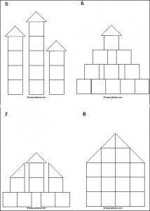 Voorbeeldkaarten 2d voor de bouwhoek of het bouwen met de kleine blokjes.
