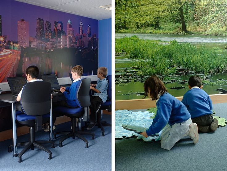 Digital wallpaper was used to create differentiated spaces for IT areas and environmental studies area at Orchard Park Primary School, Cambridgeshire