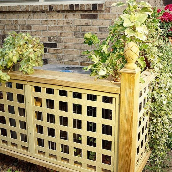 Conceal the Air-Conditioner     You can't get rid of bulky and unsightly air conditioning units and utility meters, but you can hide them. Keep these out of view with short sections of fencing or evergreen shrubs