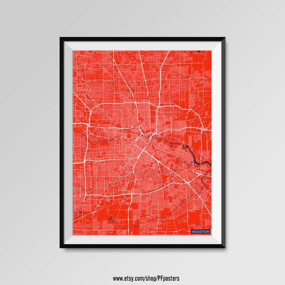 Houston Map Print, Minimal Wall Art, Office Home Decor, COLORS - white, blue, red, yellow, violet Houston map, Houston print, Houston poster, Houston map art, Houston gift  More styles - Houston - maps on the link below https://www.etsy.com/shop/PFposters?search_query=Houston