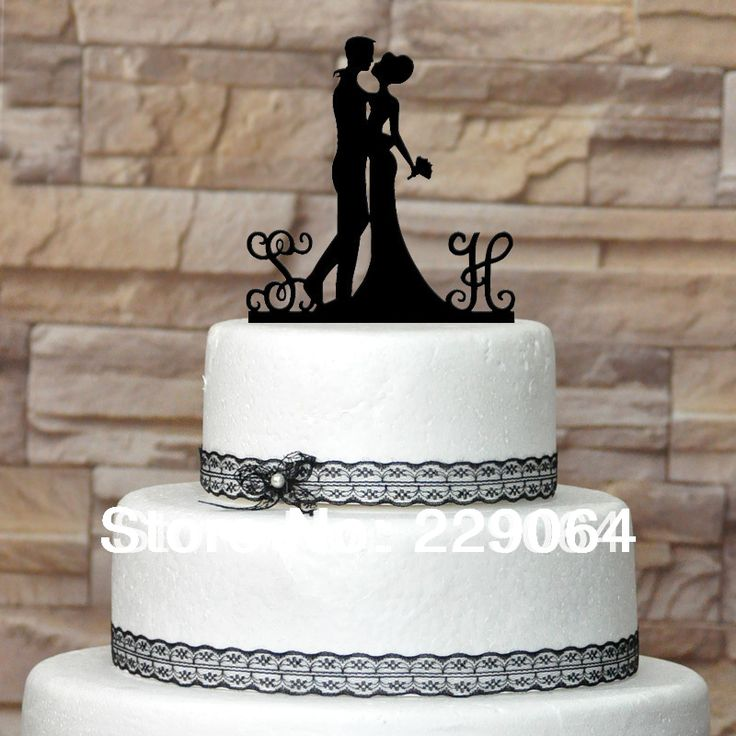 Letras do monograma personalizado do bolo de casamento topo de bolo personalizado topper personalizados, iniciais para noivos, silhueta casal US $8.99