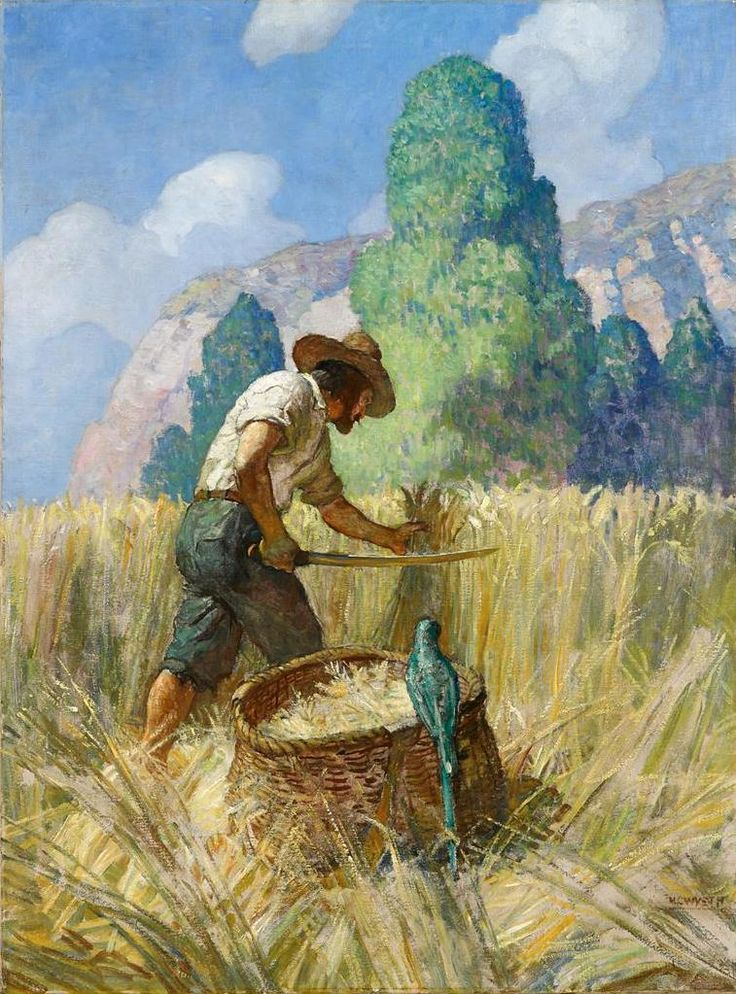 N.C. WYETH  Robinson Crusoe and His Grain Field  Oil on Canvas  40.75″ x 30.25″
