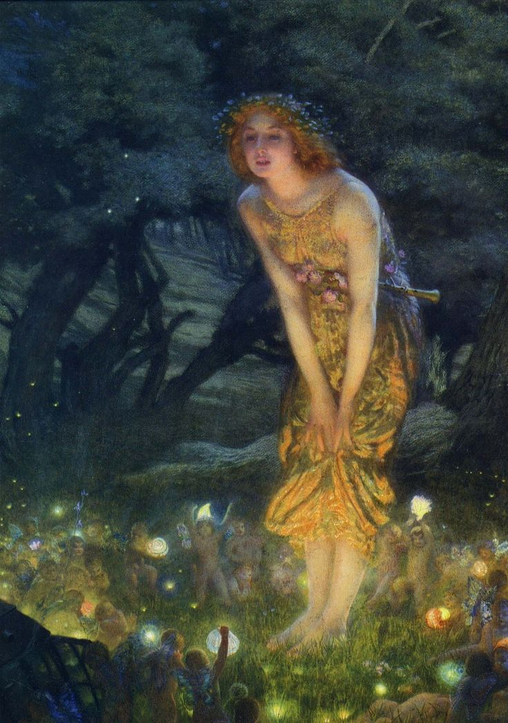 """I have this poster at home..I love this one.   Edward Robert Hughes' painting """"Midsummer Eve"""""""