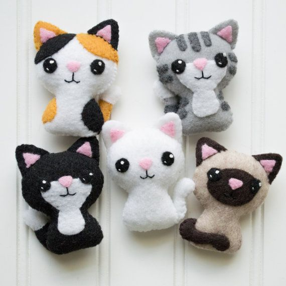 Felt Cat Pattern  Sewing Pattern  Cat Softie by CraftyAlienStudio