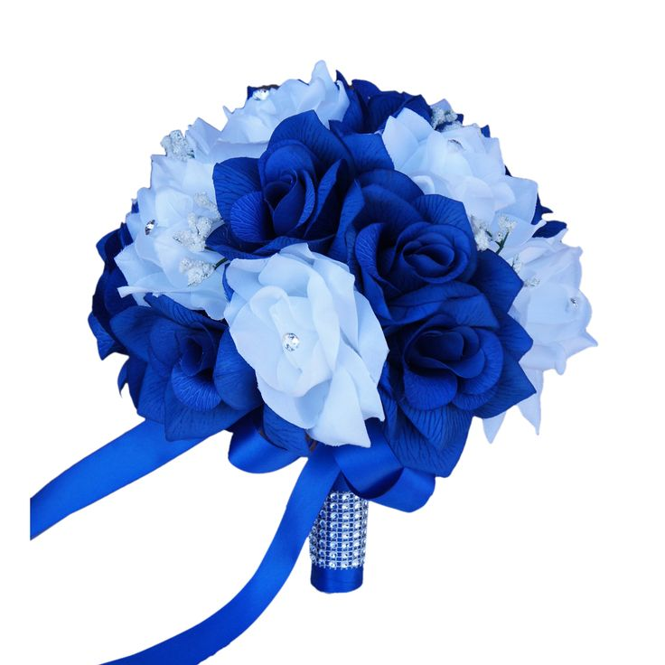 """This auction is for 1 bouquet as pictured. Color:Royal blue & White Made of open roses accents with baby breath Dimension: 9"""" Handle: Royal blue ribbon wrapped decorated with bling"""