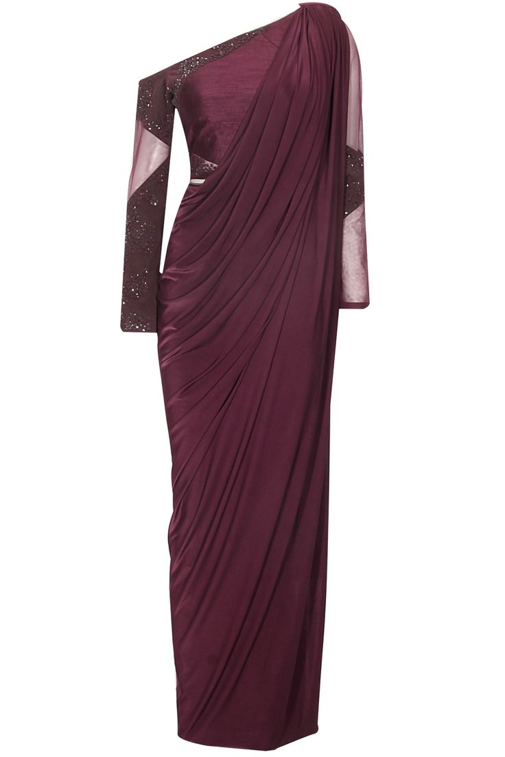 Wine draped sari with off shoulder beaded blouse available only at Pernia's Pop Up Shop.