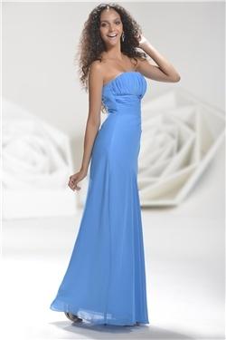 魅力的なエンパイアウエストストラップレス床長さウェディング/ホームカミングドレス