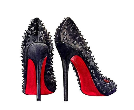 Fashion Illustration Christian Louboutin by LadyGatsbyLuxePaper