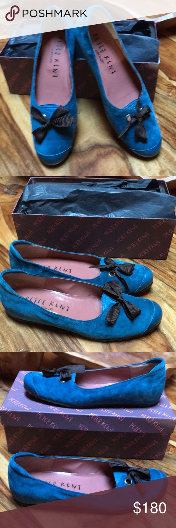 """New Peter Kent Teal w/ brown bows of  fine suede. Made in Italy. Size 39.5 (US 9.5) leather flats/w polished leather on reinforced toe. Grosgrain ribbon of brown w/ grommets. Espadrilles/wedge feature: a raised internal heel of 1/2"""". Peter Kent Shoes Wedges"""