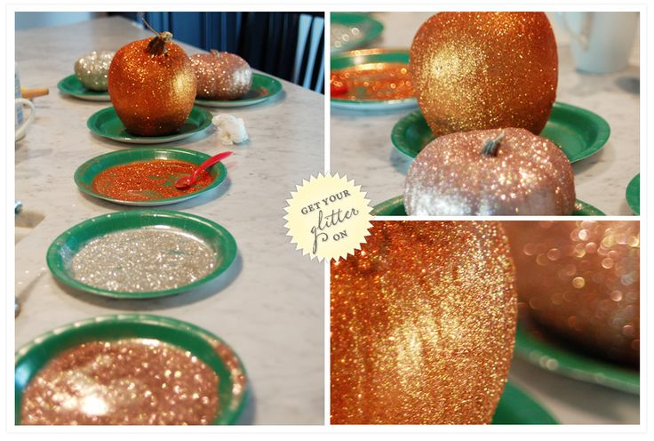 An October wedding doesn't have to be hum-drum, glam it up with some sparkly and metallic pumpkin and squash center pieces.  (You can also send them home with your guests)  OR You could glam up some tiny pumpkins and make them place card holders... just put a little cut in the stem to hold the card, or tie a ribbon around the stem with the card affixed.