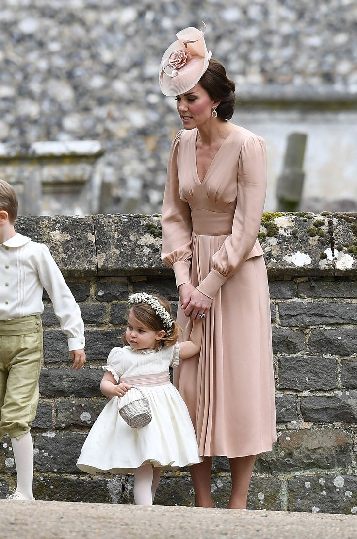 ENGLEFIELD GREEN, ENGLAND - MAY 20:  Catherine, Duchess of Cambridge and Princess Charlotte of Cambridge, bridesmaid leave the wedding of Pippa Middleton and James Matthews at St Mark's Church on May 20, 2017 in Englefield Green, England.  (Photo by Samir Hussein/Samir Hussein/WireImage) via @AOL_Lifestyle Read more: https://www.aol.com/article/entertainment/2017/05/20/pippa-middleton-marries-james-matthews-in-breathtaking-ceremony/22100629/?a_dgi=aolshare_pinterest#fullscreen