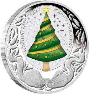 Счастливого Рождества! Серебряная монета 1 унция в футляре 1 доллар Тувалу 2008 Монетный двор г.Перт (Австралия) Цена от 600 грн. Превосходный подарок на Новый Год