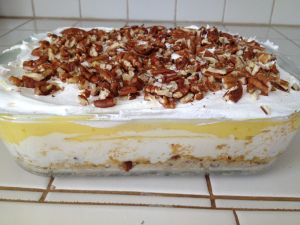 I made this for Easter! It was so good! Thought I would share! I got the recipe from this site. Luscious Lemon Delight Ingredients 1 cup all-purpose flour 1/2 cup plus 2 tablespoons chopped pecans,…