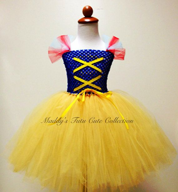 DIY for Character breakfast - Snow White Inspired Tutu Dress Costume with red ribbon for headband