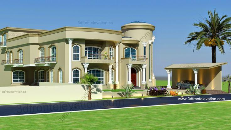 Modern arabic villa design 2015 3d front elevation for Villa design in pakistan