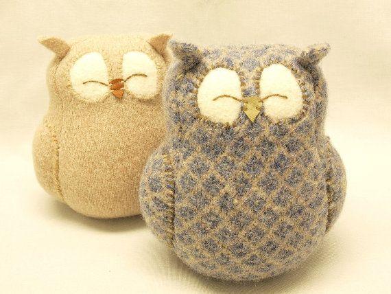 Sleepy Owl Blue Grey and Beige Felted Wool Home by ForMyDarling