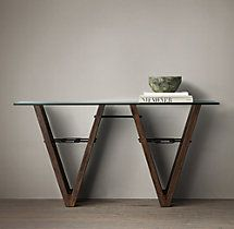 Reclaimed Wood & Glass V-Form Console Table Behind sofa