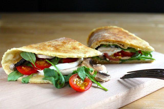 Piadine, sandwiches nord italiens { tomates, mozzarella di bufala, champignons…