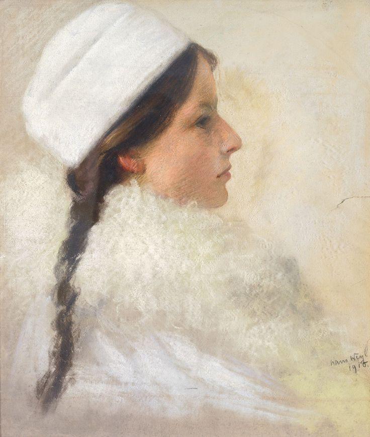 "colourthysoul: "" Hans Hermann Weyl - Portrait einer jungen Dame im Pelz mit Mütze (1910) - [Portrait of a young lady in fur and with hat] """