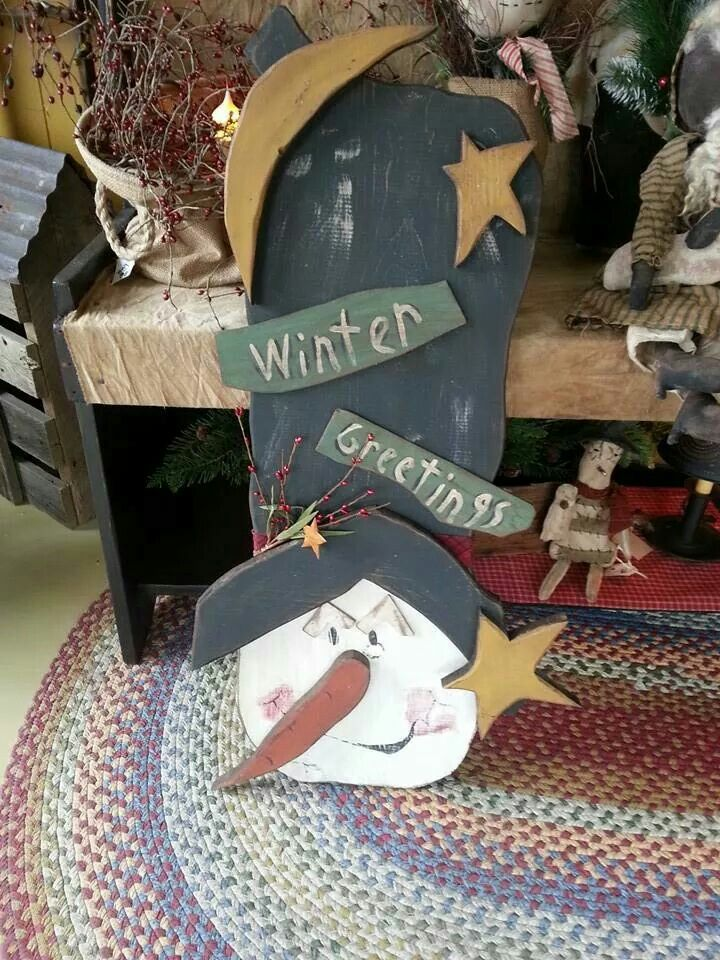 Primitive Christmas Craft Ideas Part - 28: Cute Wood Craft Rustic Snowman