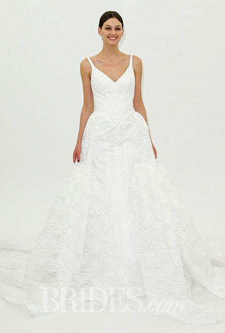 Truly Zac Posen - Spring 2016. Sleeveless ball gown wedding dress with a v-neckline, Truly Zac Posen