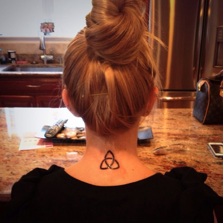 Trinity Knot Tattoo On Back Of Neck