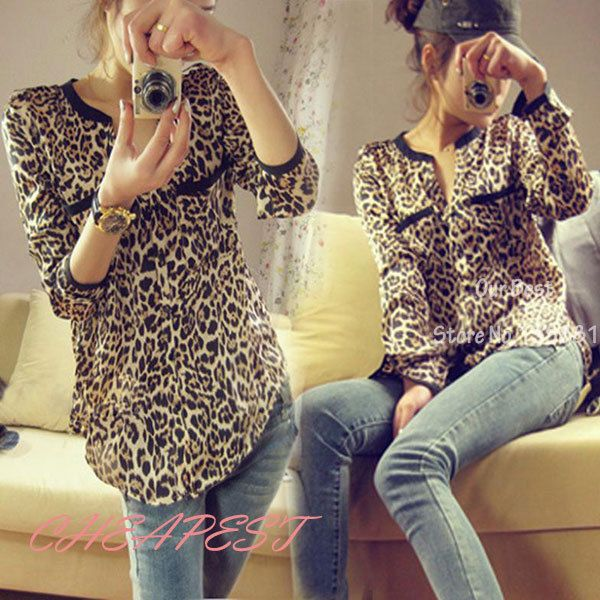 New Fashion 2014 Women Wild Leopard Print Chiffon Blouse Lady Sexy Long Sleeve Top Shirt  Loose  V neck Leopard Blouse Freeship US $6.99