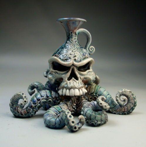 Octopus-Skeleton-Face-Jug-raku-pottery-sculpture-by-Mitchell-Grafton