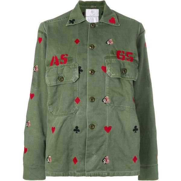 As65 embroidered heart shirt jacket found on Polyvore featuring outerwear, jackets, green, cotton shirt jacket, green camo jacket, army green shirt jacket, green jacket and embroidery jackets