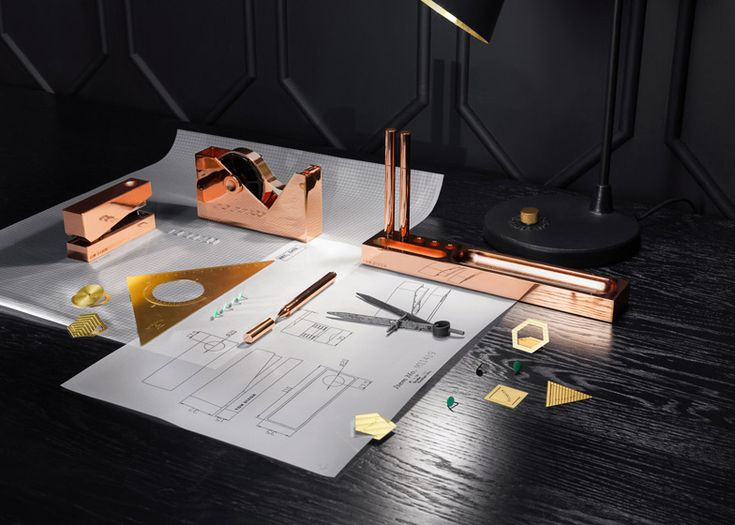 Tom Dixon S 2017 Range Of Accessories Includes Copper Stationery And Containers With Magnifying Gl Lids