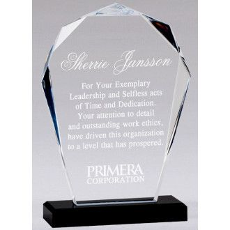 "Our Faceted Bloom Acrylic Award features a modern cut of clear acrylic with beveled edges mounted on a black acrylic base. This CP67 is 9"" tall, weighs 1.7 lbs & includes free engraving."